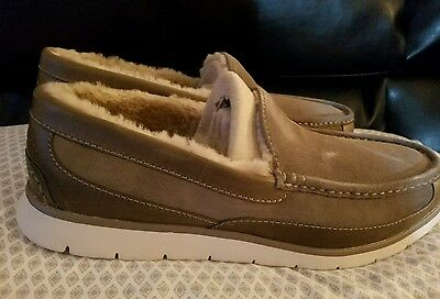 NEW Mens Ugg Fascot Slip-On Dark Fawn Suede Leather Slippers 11.5 1014478-DKFW