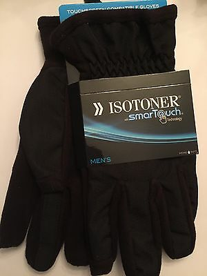 ISOTONER Men's Gloves With Smart Touch Technology NWT Black Size L