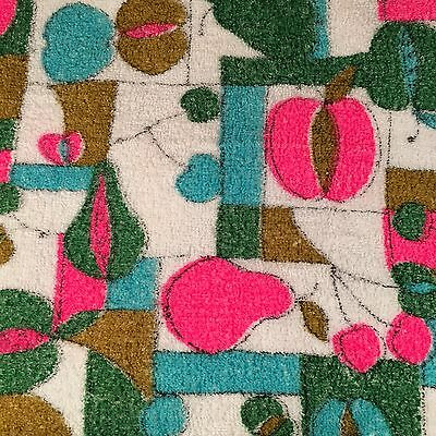 Vtg Retro Mid Century Modern Terrycloth Tablecloth Pink Teal Fruit Apple 51 x 64