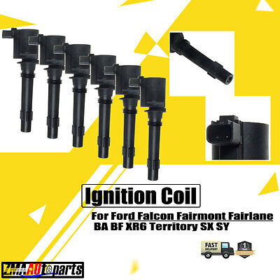 6Pcs for Ford Falcon Fairmont Fairlane BA BF XR6 Territory SX SY Ignition Coil