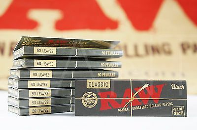 8 Packs Of Authentic Raw Black Double Pressed Rolling Paper 1 1/4 Natural