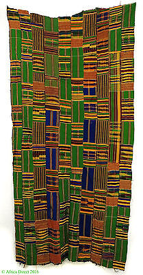 Kente Textile Handwoven Cloth Green and Blue Asante Ghana Afric SALE WAS $149.00