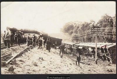 Unknown Australian (possible Gippsland) Train crash postcard on Kodak stock