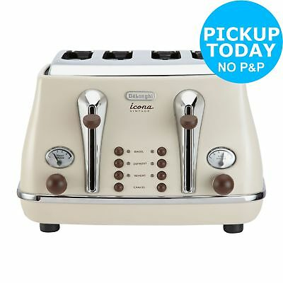 DeLonghi CTOV4003BG 4 Slice Vintage Icona Toaster - Cream - 1800W - From Argos