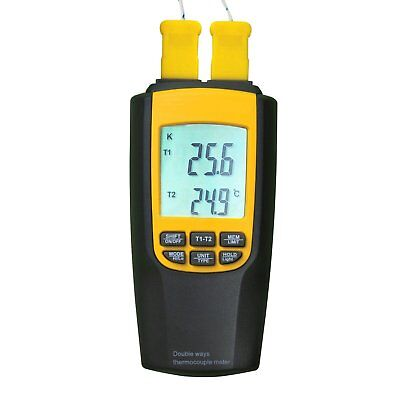 Digital 2 K / J Type Thermocouple Thermometer, Dual-channel LCD Backlight °C/ °F