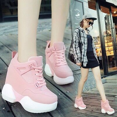 0afb6a14a01da KOREAN WOMEN'S GIRLS Wedge High-top Heels Platform Casual Fashion Sneakers  Shoes