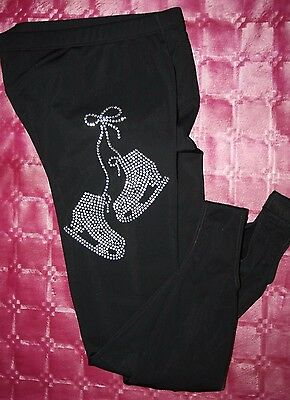 Black  Skating Stirrup Leggings-Glitzy Skates-Warm Fleecy Lining Great Quality
