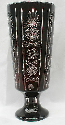 Antique Tall Large Bohemian Ruby Red & Clear Flashed & Etched Cut Vase