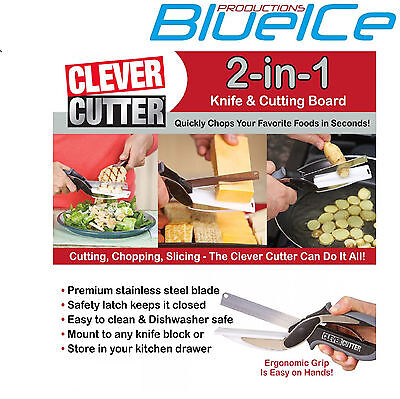 2-in-1 Clever Cutter shear Cutting Board Scissors Food Choppers Vegetable Slicer