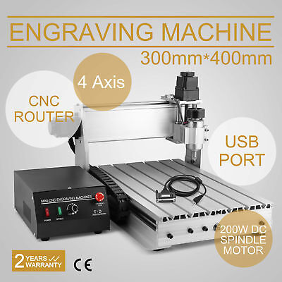 Usb Cnc Router Engraver Engraving Cutter 4 Axis 3040T T-Screw 3D Desktop Cutting