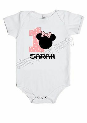 BABY JUMPSUIT - MINNIE MOUSE 1st BIRTHDAY OUTFIT T-SHIRT PERSONALISED cake smash