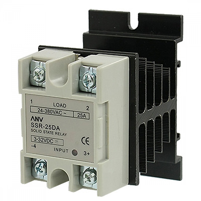 NEW uxcell SSR-25 DA 25A 3-32V DC / 24-380V AC Solid State Relay + Heat Sink