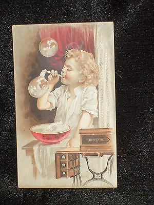 1890s ADVERTISING TRADE CARD ~ DOMESTIC SEWING MACHINE ~ HELLAM, YORK CO. PA