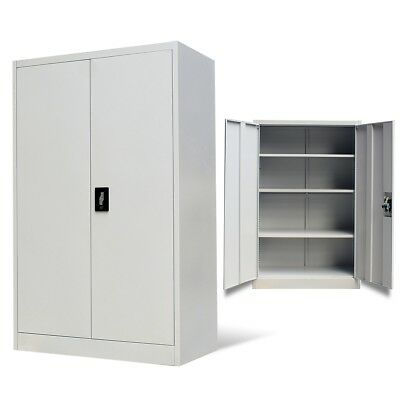 Metal Office File Filing Document Cabinet 2 Doors 4 Compartments Storage Unit