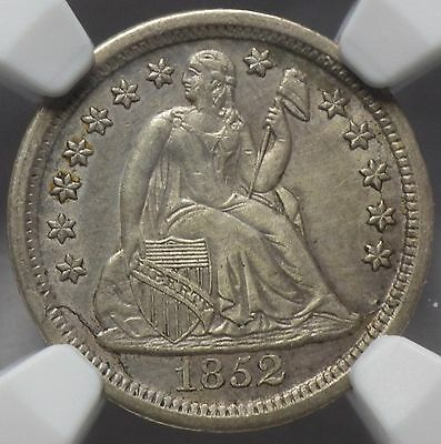 1852 Seated Liberty Dime AU Details