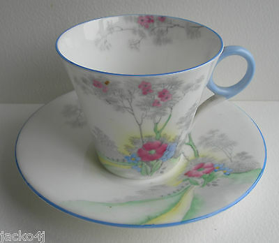 Nice Shelley For Lawleys Regent Shaped Cherry Blossom Small Cup & Saucer Ws 0148