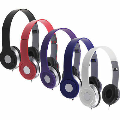Stereo Headphones Dj Style Foldable Headset Earphone Over Ear Mp3/4 3.5Mm Uk