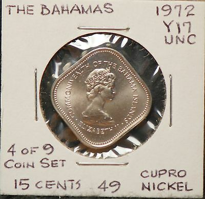 The Bahamas, 1972 15 Cents, Uncirculated,                                   8lgm