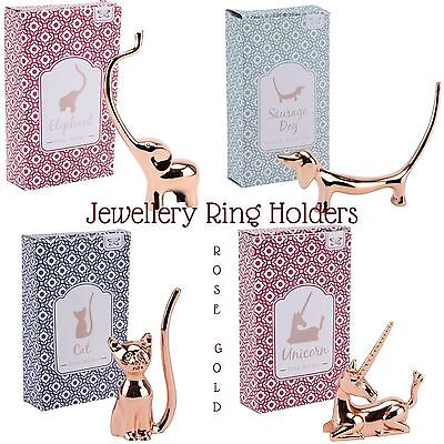 Jewellery Ring Display Holder Organiser ROSE GOLD Plated ELEPHANT DOG CAT UNICOR