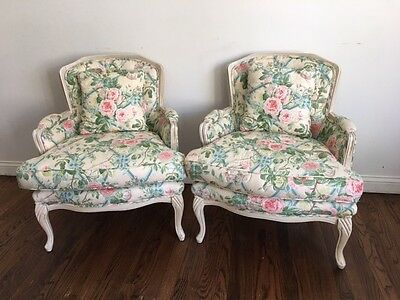Fine Quality Pair of French Louis XV Style Vintage Floral  Bergere Arm Chairs
