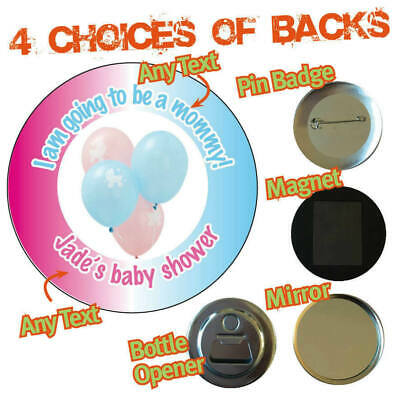 Personalised BABY SHOWER 'Mommy to be'  boy girl Badge Magnet Mirror Opener 956