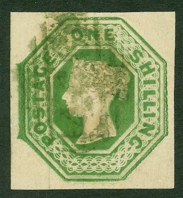 SG 55 1/- green. Cancelled in green. 4 large margins. Very fine used 466...