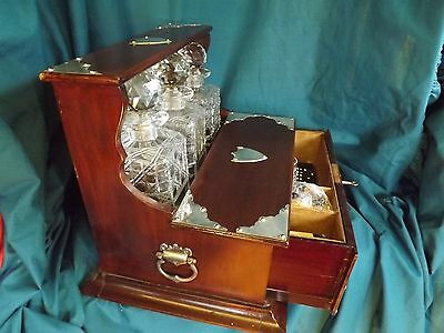 Mahogany/Silverplate Tantalus With Glasses/Games Etc C1900.