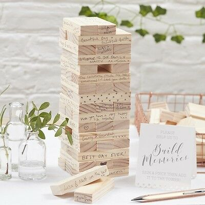 Ginger Ray Beautiful Botanic Wedding Wooden Alternative Guest Book  - Jenga -