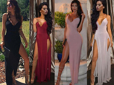 Women Formal Evening Party Cut Out Side Slit Bodycon Club Long Maxi Dress V Neck