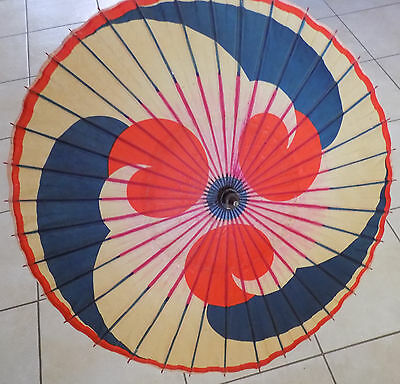 1933 Umbrella Chinese Oriental Antique Wooden Old WOOD HANDLE Parasol  Paper