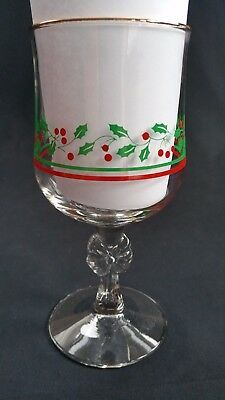 arbys wine goblets christmas glasses bow stem holly berry 1987  *  set of 4