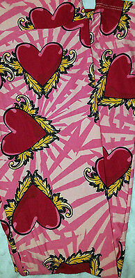Lularoe Leggings Pink Red Hearts Gold Feather Wings Os China Made Not Vietnam