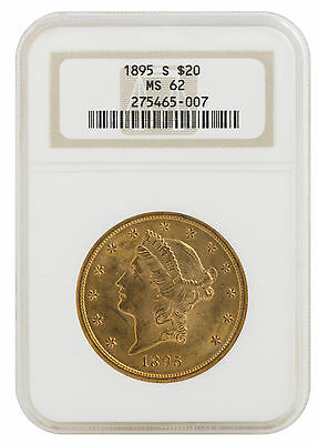 1895-S $20 Gold Liberty Head MS62 NGC (#007)