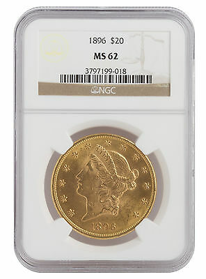 1896 $20 Gold Liberty Head MS62 NGC (#018)