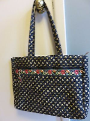 Vera Bradley Laptop Computer Shoulder Bag Briefcase Retired Black Sunflower