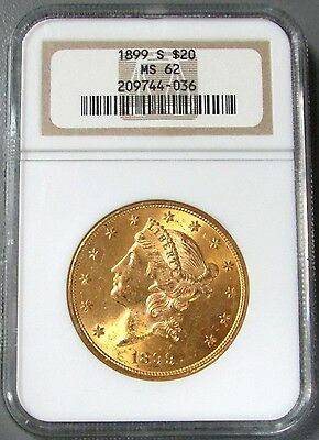 1899 S Gold $20 Liberty Head Double Eagle Coin Ngc Mint State 62