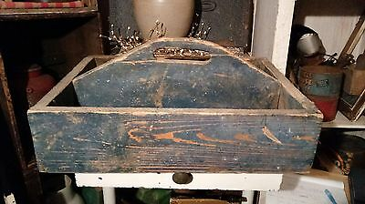 Old Primitive Dry BLUE Paint Wood Carrier with a Handle American Country AAFA