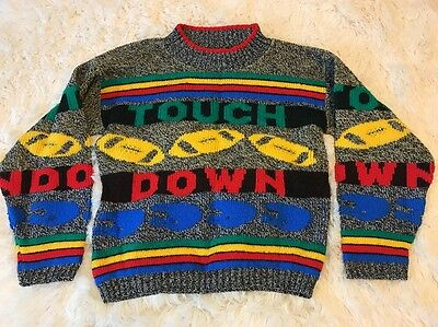 🏈 Vintage 80's Football Sweater Boys Kids Small by Hot Cashews Size 5/6 1980's