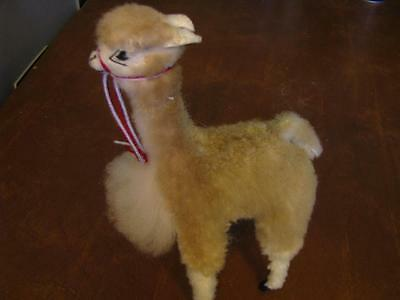 "Llama Fur Figurine 7 1/2"" Peruvian Alpaca Very Good Condition"