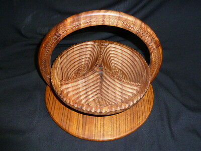 COLLAPSIBLE WOOD SECTIONED BOWL BASKET & HOT PLATE w/INTRICATE CARVING - EXC.