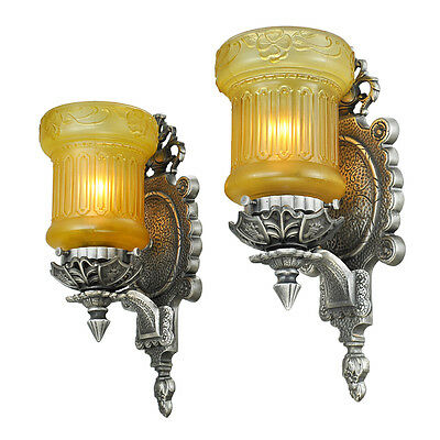 Edwardian Pair Wall Sconces Antique Light Fixtures with Amber Shades (ANT-767)