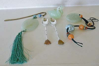 Antique Chinese Jade, Sterling Silver, Hardstone, Carnelian, Duck Statue Lot