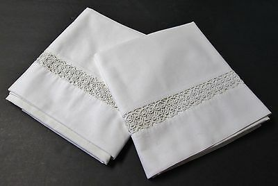 Pair Antique Pillow Cases Hand Tatted Insets Beautiful!