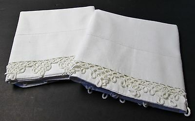 Pair Antique Linen Pillow Cases Hand Tatted Trim Excellent Condition Unused?