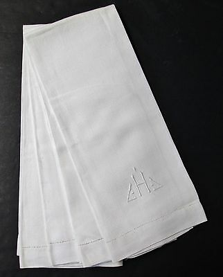 Antique 4 Nubby Linen Damask Towels H Monogram Hemstitched Snowy White Lot #2