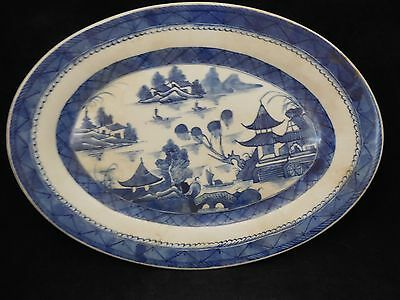 19c Antique Chinese Export Blue & White Oval Canton Platter