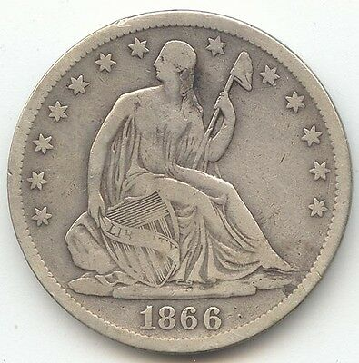 1866-S Seated Liberty Half Dollar, With Motto, Fine Details