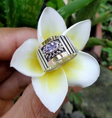 Amethyst Solid Silver, 925 & 22K Gold Balinese Ring 38887
