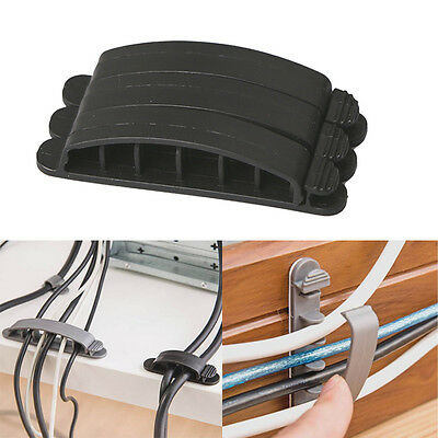 Black Cable Wire Cord Lead Drop Clips Usb Charger Holder Tidy Desk Organiser