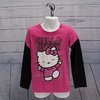 Hello Kitty Girl Youth  Size L/6 Pink Casual Studded T-Shirt Top 100% Cotton